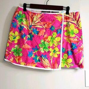 Vibrant Floral Faux Wrap Swim Skort
